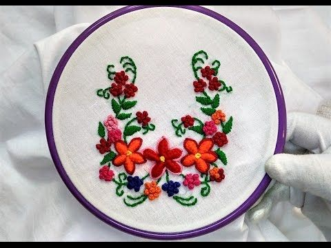 Hand Embroidery - Cast on Knotted and Satin Stitch - YouTube