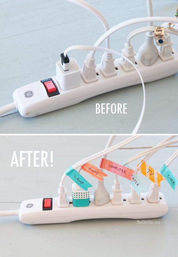Kolorowe etykiety pozwolą szybko znaleźć właściwy kabel. | 15 sprytnych pomysłów na utrzymanie porządku w domu
