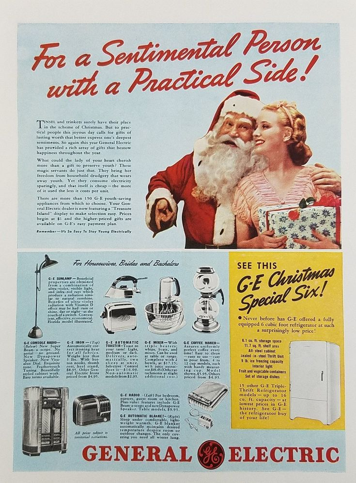1939 GE General Electric Small Appliances Vintage Ad - Christmas Santa Woman #HomeAppliancesAdvertising