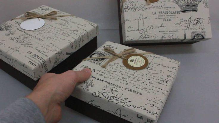 Набор подарочных коробок из 3шт  Квадрат Париж  27х27х11,5см Артикул 129...