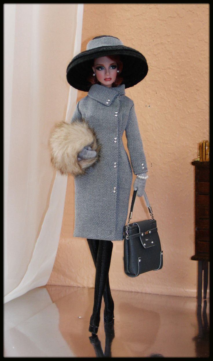 """* 2016 Collection * """"Casual Elegance"""" -- Series ~ 9 pc.   Stunning fully lined long coat made from high quality wool. It has silver tone button design & closure w/ hook & thread loops   Fully lined fur hand warmer (Faux, I hope ) Beautiful leather purse w/ """"Dior"""" logo on the front, can be open for display. Matching, handcrafted straw hat design embellished w/ bow on the back of center ~ Earrings ~ Bracelet   """"Love Fashion"""" ~ Head designer Xiao Lan   Doll: Fashion Royalty ~ US $152.50"""