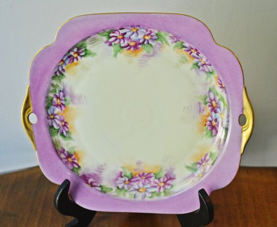 Vintage Plate Mauve Coloured Plate Hand Painted Plate