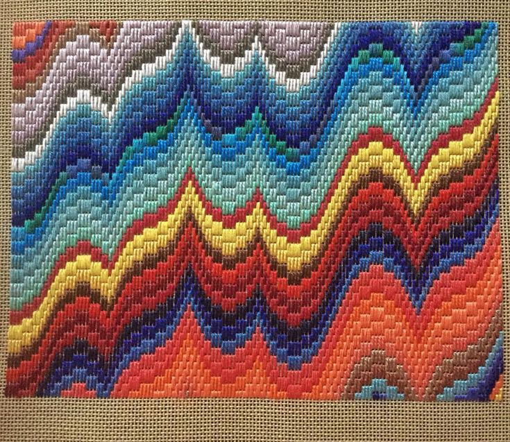 "Margaret Timbrell Hiatt on Instagram: ""Bargello interlude! I think this one is titled ""Jar Bello"" @startupartfair"""