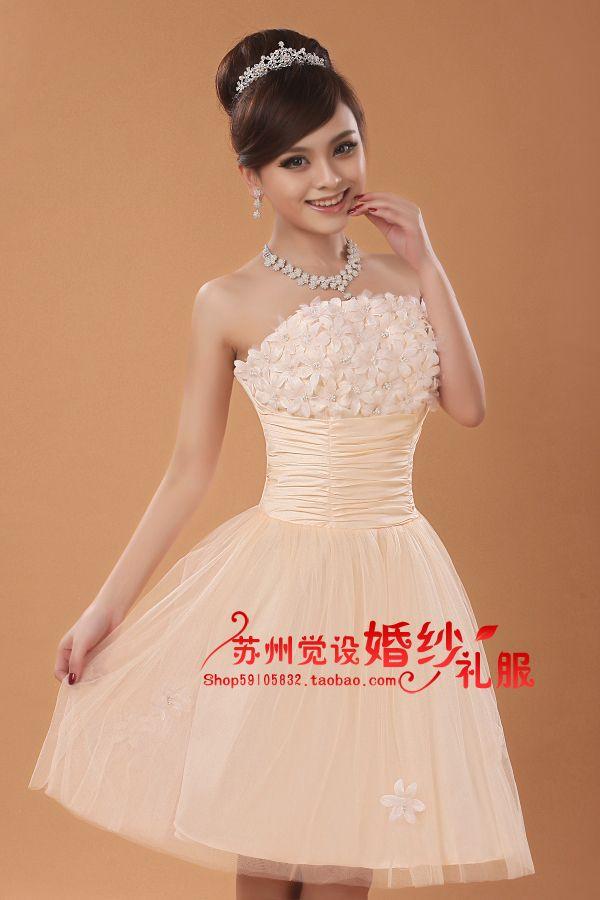 2013 libre de tamaño personalizado parte superior del tubo delgado vestido de dama de honor corto diseño de color champán de damas de honor vestido nuevo brindis vestido de la boda