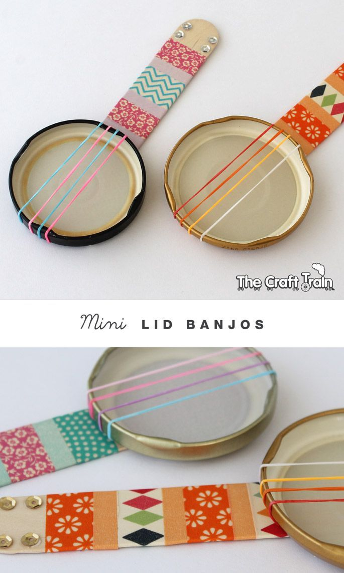 make these mini banjos with rubber bands and metal lids. How cute are these?