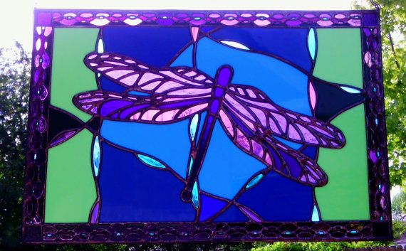 Stained Glass Dragonfly Window Panel Purple Blue by JBsGlassHouse