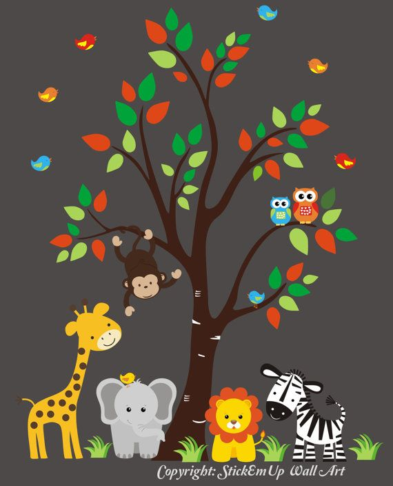 Nursery Wall Decal with Giraffe Elephant Lion by StickEmUpWallArt, $145.00