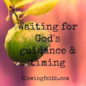 "Flowing Faith: Waiting for God's Guidance and Timing -- ""God's will is for us to be saved and become Christ-like. God's will for us is to live in a close relationship with him. If we do this, we can be certain God will also guide us in everything else."""