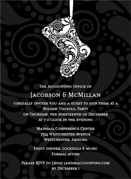 Filigree Stocking Black Invitation #holiday #party #invitation