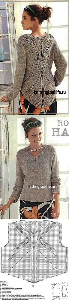 Пуловер с ажурной спиной с полным описанием