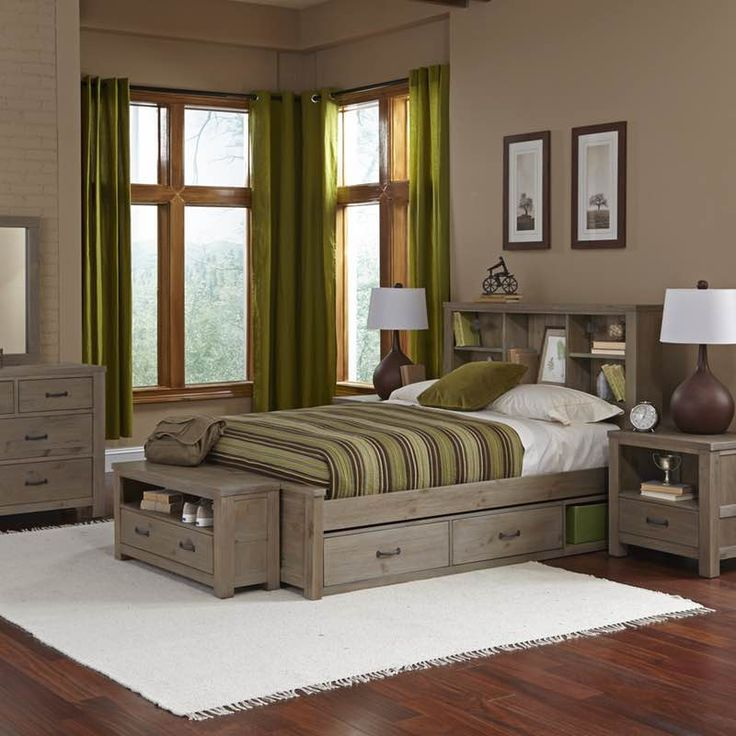 highlands twin size bookcase bed with driftwood finish