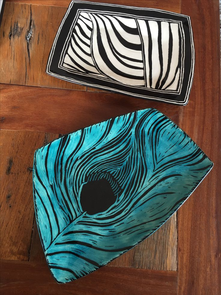 Sgraffito plates, first of many, I really like this technique.