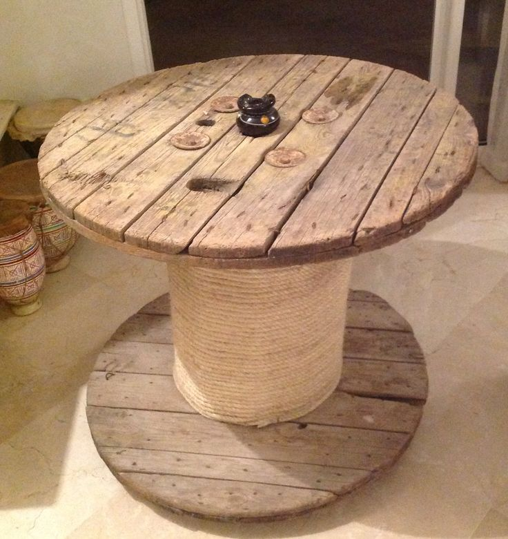 Table ronde fa on bobine de c ble deco recup pinterest tables - Table ronde industrielle ...