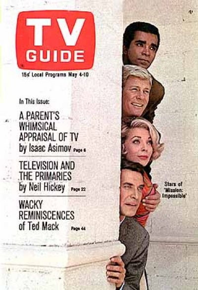 Mission Impossible TV Guide, May 4, 1968: Greg Morris, Peter Graves, Barbara Bain, Martin Landau