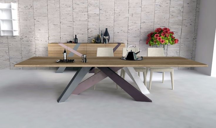 Bonaldo Big Table  A game of balances, an optical path which lead from one element to another; the inclination of legs suggests dynamism, the linearity of the top gives a great visual stability. Motionless, or moving, Big Table has a very unusual personality. The structure is made of laser-cut steel laquered matt white, the top is made of extra-clear white crystal ant it isn't extendable.  http://www.industryinterior.com/en/prod/living-room/table/bonaldo-big-table.html