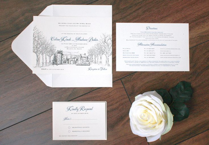 Ballymagarvey Village Invitation . Wedding Stationery from Appleberry Press