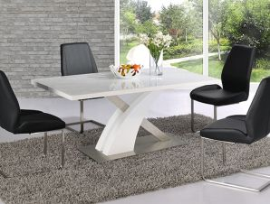 Wavecrest White High Gloss Dining Table