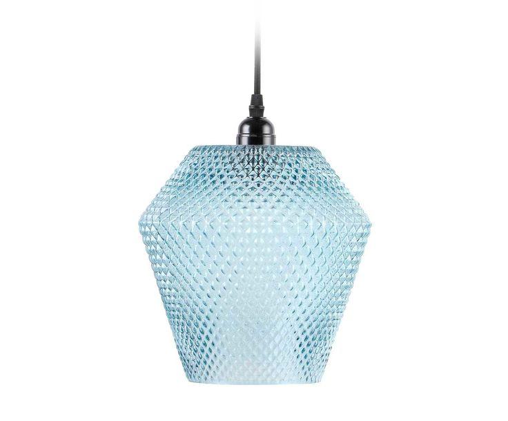 Lámpara de techo en vidrio Leonie - azul y negro