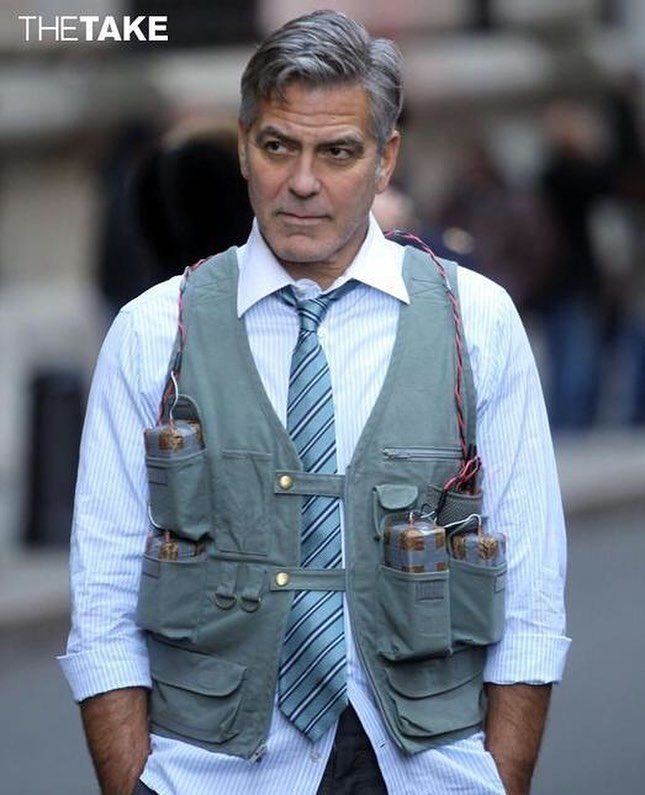 George Clooney is so stylish he can even pull off a bomb vest look. #MoneyMonster #Clooney