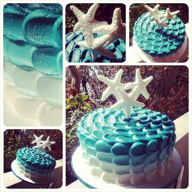 Mermaid cake all finished and about to be picked up! I had to do this one all by…
