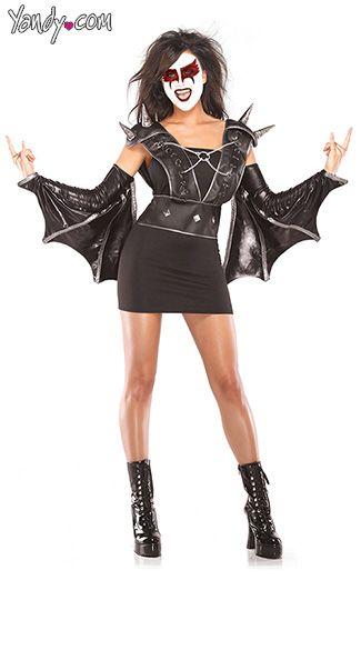 the bedroom box 3 pc vampire rocker wet look vest lycra tube dress wet look wing arm bands black ml - 80s Rocker Halloween Costume