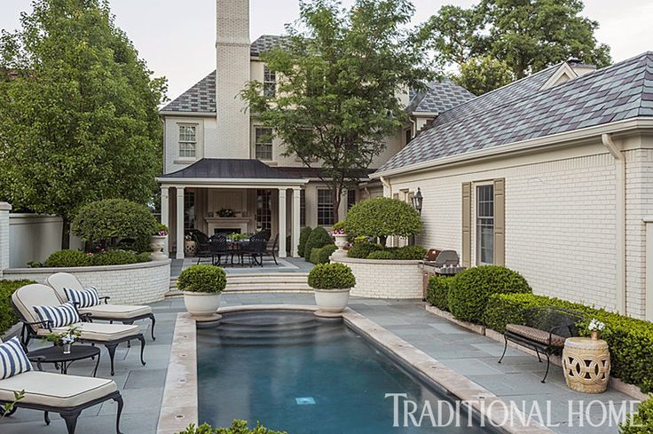 This pool, set inside a walled garden, is perfectly private, and a