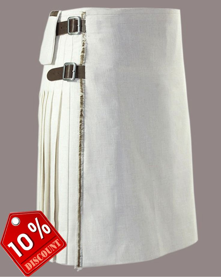 White #Cotton Elegant #Kilt Our handmade kilts are built to last and will withstand any manly task you put them up to. The style is traditional with added functionality. The custom #button placement and #buckle closure give our kilts a unique flare you won't find anywhere else. #RoyalKilt Visit our online kilt shop we offer most authentic and latest. http://royalkilt.com/kilts/modern-kilts/heavy-duty-white-cotton-kilt.html