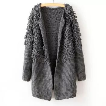 Simple Round Collar Solid Color Terry Long Sleeves Loose-Fitting Women's Cardigans - GRAY ONE SIZE