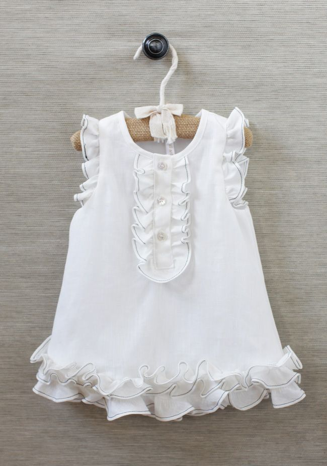 Maria Organic Ruffled Dress at #Ruche @Ruche  I love how the contrast dark stitching on the ruffles defines this dress!