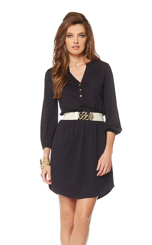 The Beckett long sleeve shirt dress is the casual fall dress you will wear everywhere. Shirt tail hem dresses are a wardrobe staple this season. Wear with sandals or flats and then transition to boots and tights.