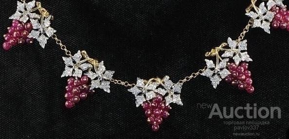 виноградные лозы восхитительное колье природные рубины алмазы бриллиант золото 750 пробы 40-х годов