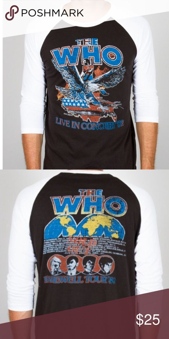 The WHO 3/4 Sleeve Raglan EUC - only worn a few times. The Who 3/4 Sleeve Raglan Classic Fit Piece-dyed, Color-Block, Raw Edge, 3/4 Sleeve Raglan Tee 100% Cotton Jersey. Unisex sizing, slightly oversized fit. From a pet & smoke free home. Junk Food Clothing Tops Tees - Long Sleeve
