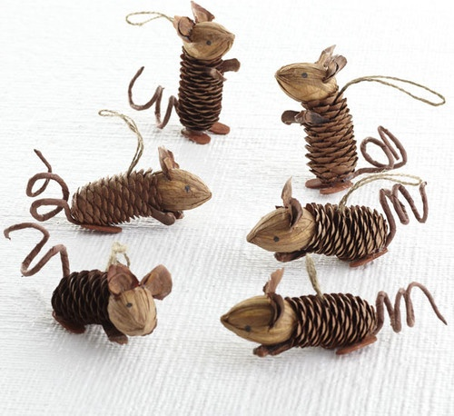 Winter Pinecone Friends, Mice - eclectic - holiday decorations - Wisteria