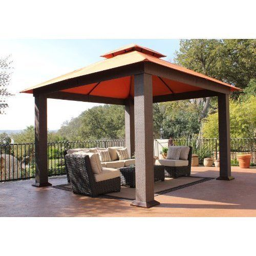12 X Gazebo Tent Wicker Frame Outdoor Room Shade For Patio Sofa Table Sets