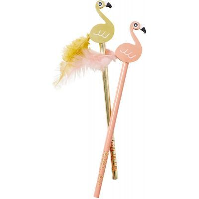 Rice Pencil with Flamingo Eraser in Assorted Colors - Set of 2