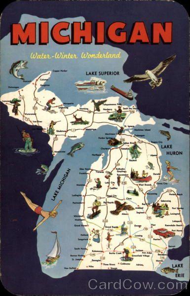 """""""Michigan: Water Winter Wonderland"""" Vintage Postcard"""