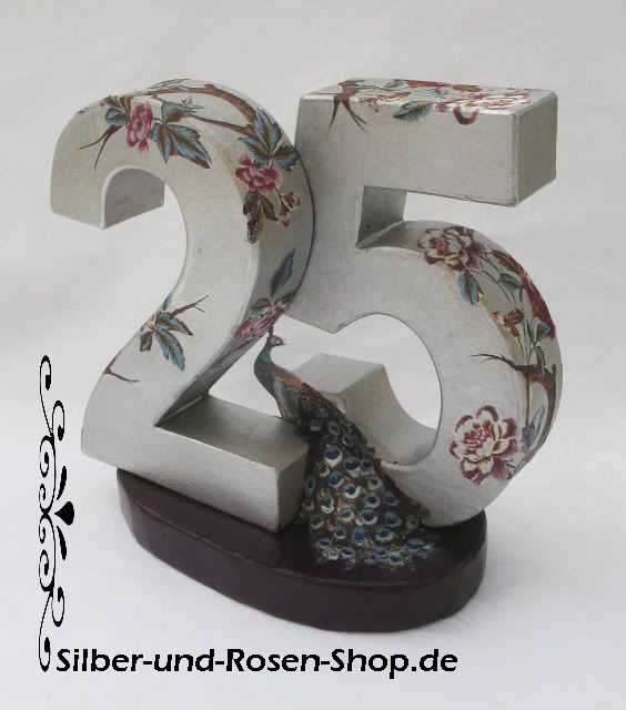 Jubiläumszahl Pfau - Silber-und-Rosen-Shop