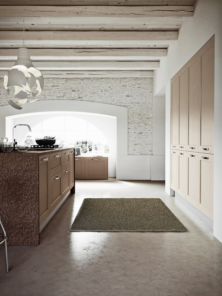 Spacious modern kitchen design with traditional shelves