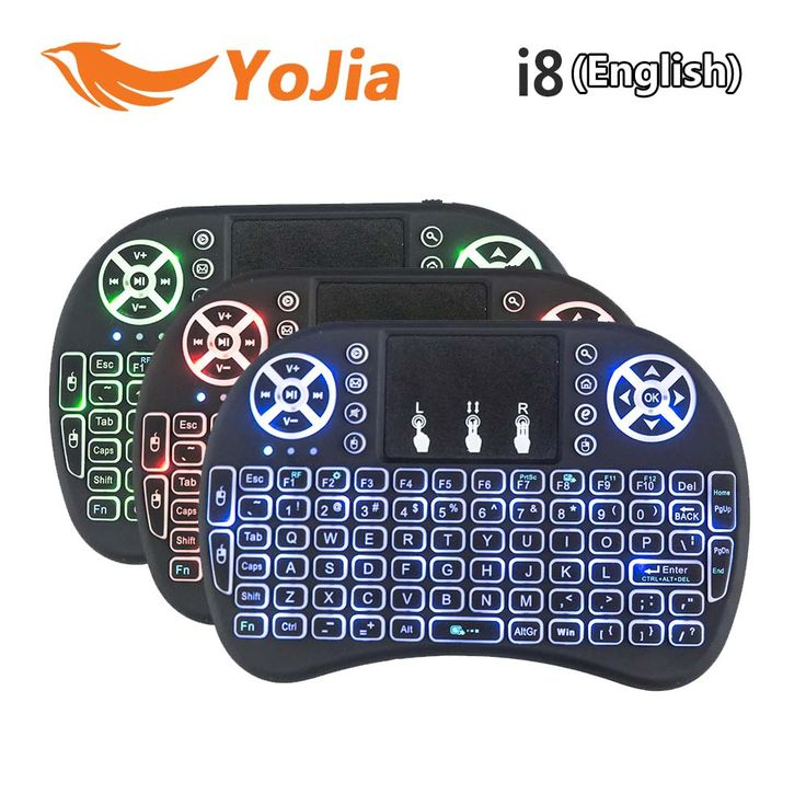 Asli Backlight Inggris 2.4 GHz i8 Wireless Keyboard Air Mouse Touchpad Handheld Backlit untuk Android TV BOX Mini PC