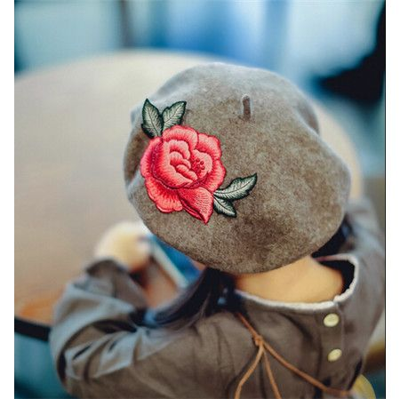 Flower embroidered beret khaki wool hat for kids