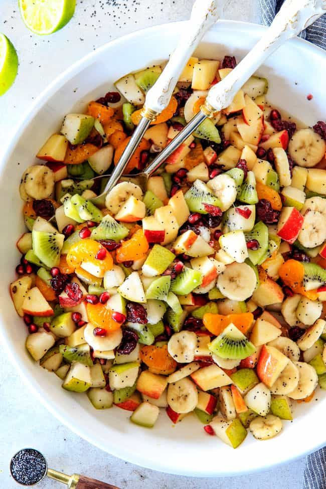 Winter Fruit Salad with Honey Lime Poppy Seed Viniagrette Irresistibly delicious vibrant Winter Fruit Salad with Honey Lime Poppy Seed Vinaigrette is simple enough for everyday impressive enough for company!