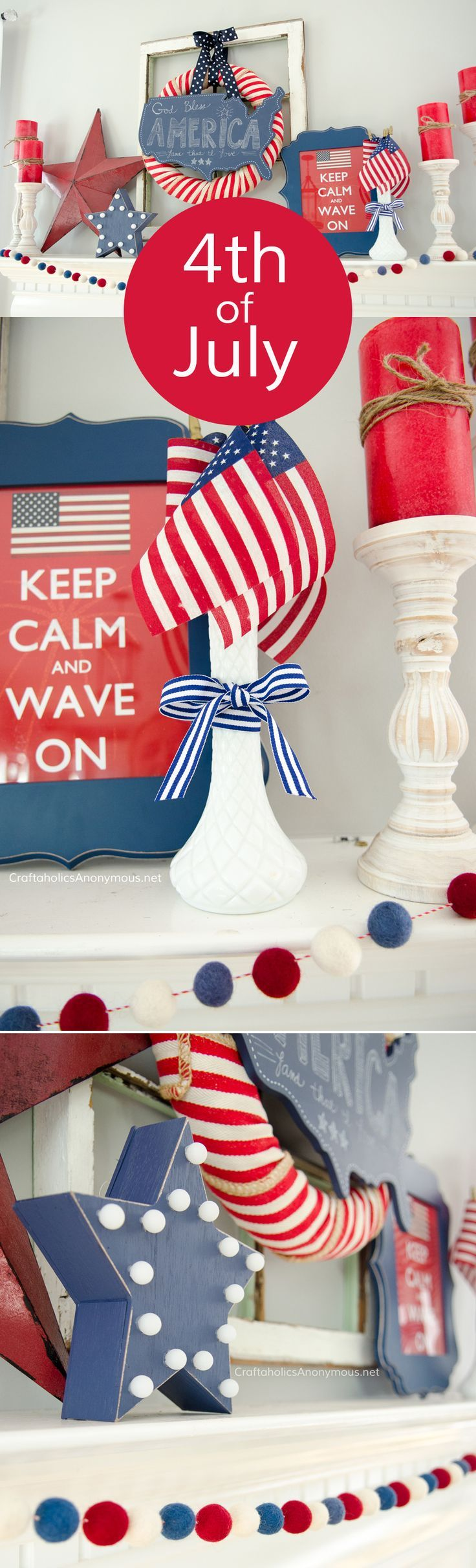 We the Craftaholics of crafting america, think you need this idea in your home this 4th! Who doesn't want this wreath?