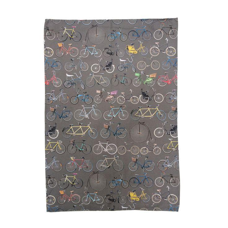 Ella Doran - Bikes on Storm Grey Tea Towel