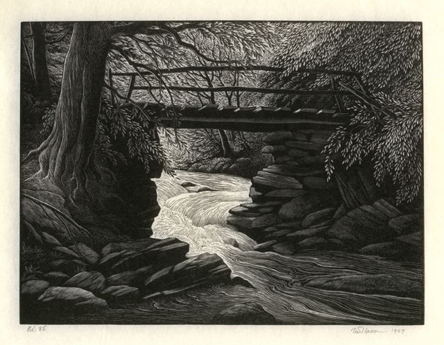 Thomas Willoughby Nason - Mountain Stream - 1949 wood engraving