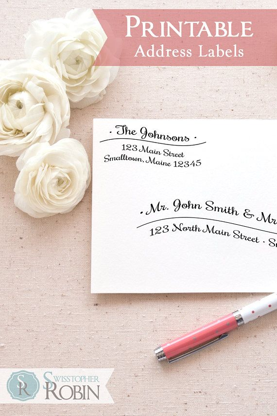 printable return address labels template calligraphy wave mailing