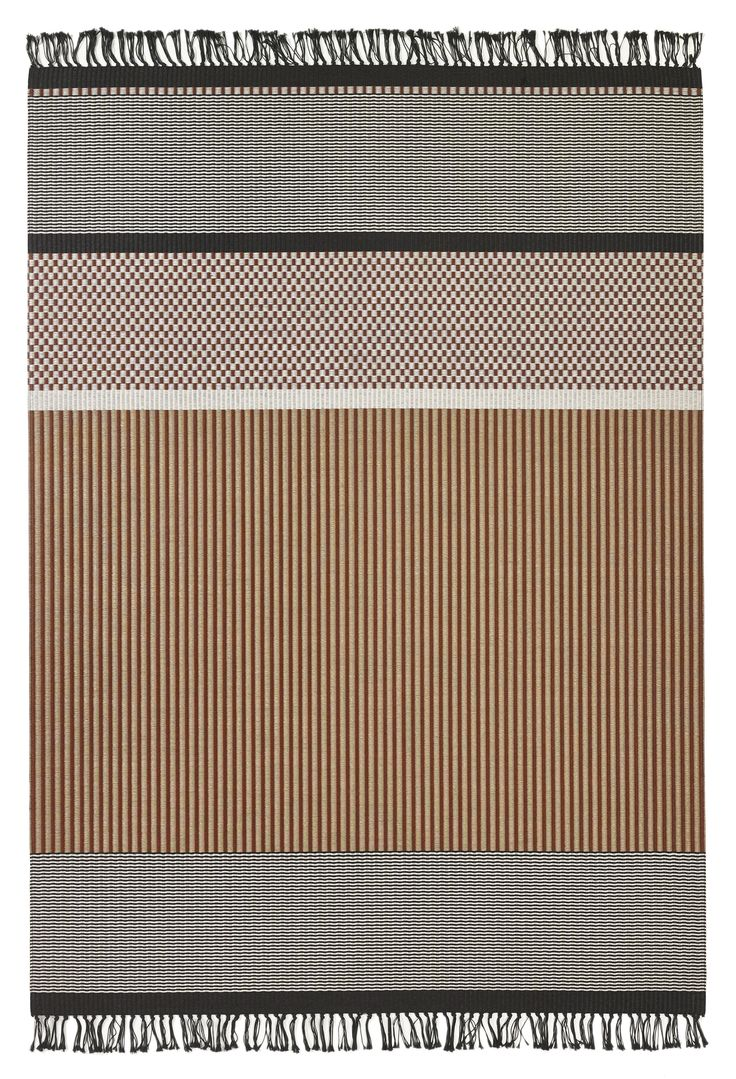 Woodnotes San Francisco paper yarn carpet col. reddish brown-stone. The San Francisco carpet's design is an asymmetrical combination of different vertical and horizontal stripes and squares. Design by Ritva Puotila
