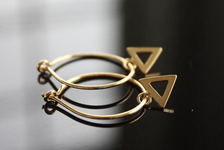 Gold Vermeil Hoops, Triangle Charm Hoop Earrings, Minimalist Jewelry, Minimalist Earrings, by MoydesignStudio on Etsy