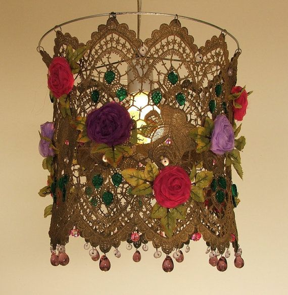 Bohemian Handmade Organza   Flowers in a Lace Ceiling by AnatBon