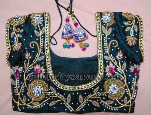 Lotus Theme Embroidery Blouse | Saree Blouse Patterns