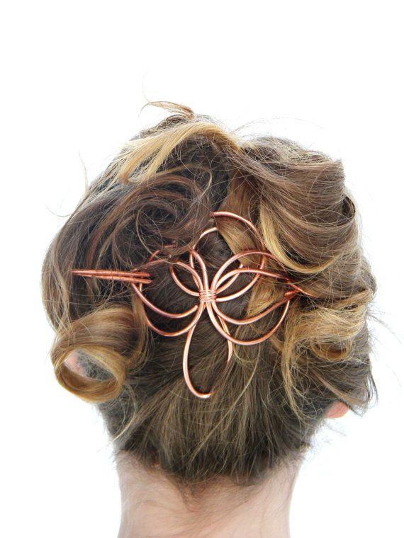 Angel, Hair Slide, Hair Accessories, Copper, Hair Barrette, Hair Stick, Bridal Hairpiece, Formal, Wedding, Hair Clip, Hair Pin, Hair Sticks,